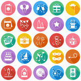 Party celebration thin line icons set. Birthday, holidays, event, carnival festive. Party elements icons collection Royalty Free Stock Images