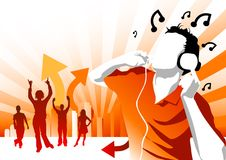 Party Central. Man with headphones and people dancing Stock Photo