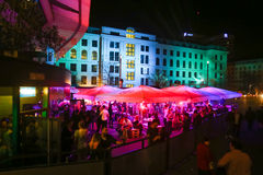 Party at Central station in Munich. MUNICH, GERMANY - MAY 6, 2017 : People partying at the Central Bus Station at night in Munich, Germany Stock Photos