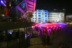 Party at Central station in Munich. MUNICH, GERMANY - MAY 6, 2017 : People partying at the Central Bus Station at night in Munich, Germany Royalty Free Stock Photo