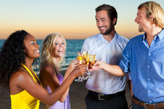 Party with champagne reception at the beach Stock Photography