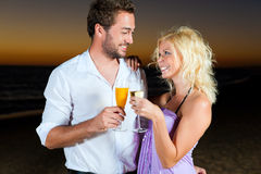 Party with champagne reception at the beach Royalty Free Stock Images