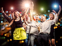 Party. Cheerful group of young people dancing at party Royalty Free Stock Photos