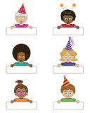 Party children holding name tags Stock Photos