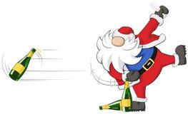 Party Christmas Cartoon, Bottle. Christmas party celebration humorous cartoon, vector, isolated Stock Photography