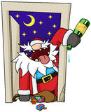Party Christmas Cartoon, Door Royalty Free Stock Photos