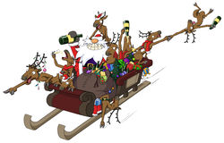 Party Christmas Cartoon, Sleigh Ride Stock Image
