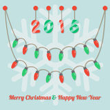 Party christmas light bulbs. Fairy party red ans green christmas light bulbs, year 2015  hanging on snowflake light brown background Royalty Free Stock Images