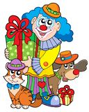 Party clown with cute animals Stock Images