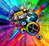 PArty Club Flyer for Music event with Explosion of colors. Royalty Free Stock Photos
