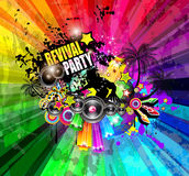 PArty Club Flyer for Music event with Explosion of colors. Stock Photo