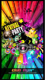 PArty Club Flyer for Music event with Explosion of colors. Royalty Free Stock Photography