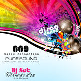 PArty Club Flyer for Music event with Explosion of colors Stock Image