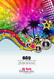PArty Club Flyer for Music event with Explosion of colors Stock Photo