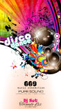 PArty Club Flyer for Music event with Explosion of colors Royalty Free Stock Photography