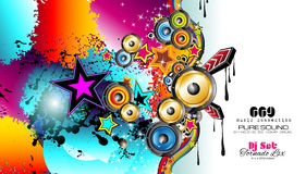PArty Club Flyer for Music event with Explosion of colors. royalty free illustration