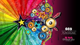 PArty Club Flyer for Music event with Explosion of colors Royalty Free Stock Images
