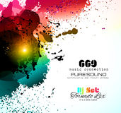 PArty Club Flyer for Music event with Explosion of colors Stock Images