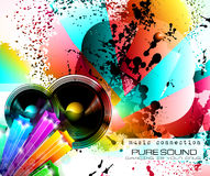 PArty Club Flyer for Music event with Explosion of colors Royalty Free Stock Photo