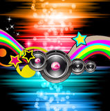 PArty Club Flyer for Music event with Explosion of colors. Stock Photos