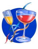 Party cocktails. Hand painted illustration royalty free illustration