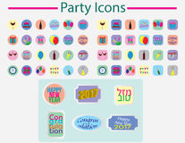 Party color icon set Stock Photography