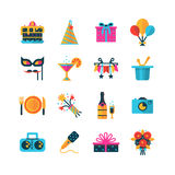 Party Color Icons Set. Flat color party icons set with  gift box bouquet balloons and bottle of champagne  vector illustration Royalty Free Stock Photo