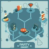 Party color isometric concept icons set Stock Images