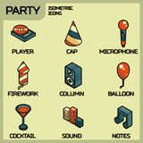 Party color outline isometric icons set Stock Image