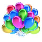 Party colorful balloon birthday carnival decoration green blue purple. Helium balloons bunch multicolored. happy holiday, anniversary greeting card design Stock Photo