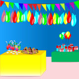 Party with colorful flags, balloons, gifts, drink and cake - vector party concept Royalty Free Stock Photo