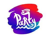 Party colorful logo illustration with boat and waves vector stock illustration