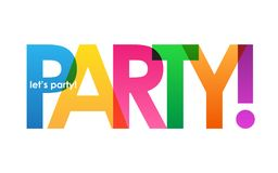 PARTY! colorful overlapping letters banner. Vector. Rainbow palette vector illustration