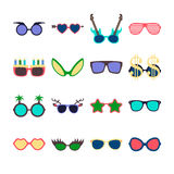Party colorful sunglasses icon set in flat style isolated on white background. Design templates. EPS10. Party colorful sunglasses icon set in flat style Vector Illustration