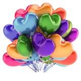 Party colorido dado forma coração dos balões, grupo do balão do hélio do amor Ilustração Stock