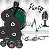 Party concept. Colorful background with old microphones, vinyl records, loudspeakers and white trumpet shape. Party theme Stock Photos