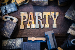Party Concept Wood and Rusted Metal Letters Royalty Free Stock Photos