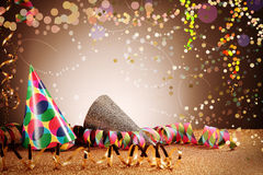 Party Cone Hats and Streamers with Glitters Effect Stock Photo