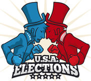 Party Contenders with Hats and Boxing Gloves in American Elections, Vector Illustration. Poster with party contenders wearing top hats and boxing gloves for next Stock Photo