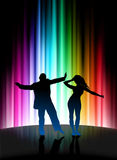 Party Couple on Abstract Spectrum Background Stock Image