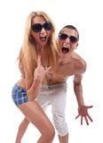 Party couple screaming Stock Photos