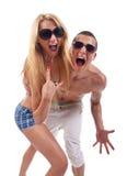 Party couple screaming Stock Photos