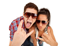Party couple screaming. Against a white background Royalty Free Stock Photo