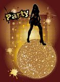 Party cover illustration. Party background with big disco ball and woman silhouette dancing - original hand drawn vector illustration Royalty Free Stock Image