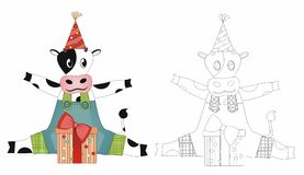 Party cow with giftbox. Vector illustration can be used as element of design Stock Photography