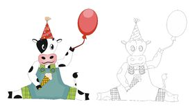 Party cow with ice cream. Vector illustration can be used as element of design Stock Photos