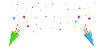 Party crackers, party poppers. Greeting banner with party crackers, party poppers, multicolored stars and confetti on white background with space for text Royalty Free Stock Image