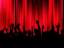 Party crowd. Silhouette of an excited crowd in front of red curtains Royalty Free Stock Photo