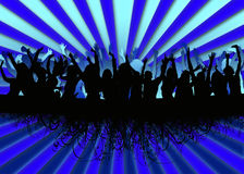 Party crowd background. Illustration of people dancing on blue background Royalty Free Stock Photo
