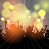 Party crowd background. Party crowd on a bokeh lights background Royalty Free Stock Image
